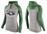 Wholesale Cheap Women's Nike Philadelphia Eagles Performance Hoodie Grey & Green_1