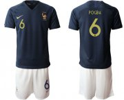 Wholesale Cheap France #6 Pogba Home Soccer Country Jersey