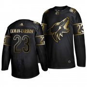 Wholesale Cheap Adidas Coyotes #23 Oliver Ekman-Larsson Men's 2019 Black Golden Edition Authentic Stitched NHL Jersey
