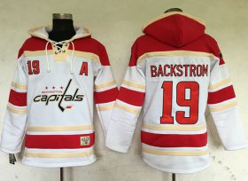 Wholesale Cheap Capitals #19 Nicklas Backstrom White Sawyer Hooded Sweatshirt Stitched NHL Jersey