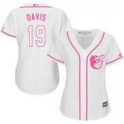 Wholesale Cheap Orioles #19 Chris Davis White/Pink Fashion Women's Stitched MLB Jersey