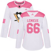 Wholesale Cheap Adidas Penguins #66 Mario Lemieux White/Pink Authentic Fashion Women's Stitched NHL Jersey