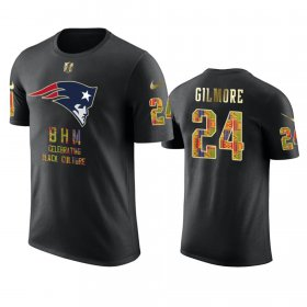 Wholesale Cheap Patriots #24 Stephon Gilmore Black Men\'s Black History Month T-Shirt
