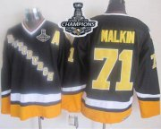 Wholesale Cheap Penguins #71 Evgeni Malkin Black/Yellow CCM Throwback 2017 Stanley Cup Finals Champions Stitched NHL Jersey