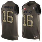 Wholesale Cheap Nike 49ers #16 Joe Montana Green Men's Stitched NFL Limited Salute To Service Tank Top Jersey