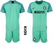 Wholesale Cheap Inter Milan Blank Green Goalkeeper Kid Soccer Club Jersey