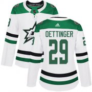 Cheap Adidas Stars #29 Jake Oettinger White Road Authentic Women's Stitched NHL Jersey