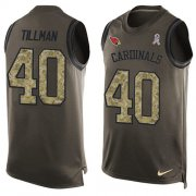 Wholesale Cheap Nike Cardinals #40 Pat Tillman Green Men's Stitched NFL Limited Salute To Service Tank Top Jersey