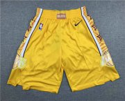 Wholesale Cheap Men's Los Angeles Lakers Yellow 2020 Nike City Edition Swingman Shorts