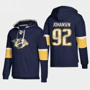 Wholesale Cheap Nashville Predators #92 Ryan Johansen Navy adidas Lace-Up Pullover Hoodie