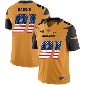 Wholesale Cheap Missouri Tigers 91 Charles Harris Gold USA Flag Nike College Football Jersey