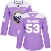 Wholesale Cheap Adidas Sabres #53 Jeff Skinner Purple Authentic Fights Cancer Women's Stitched NHL Jersey