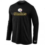 Wholesale Cheap Nike Pittsburgh Steelers Authentic Logo Long Sleeve T-Shirt Black