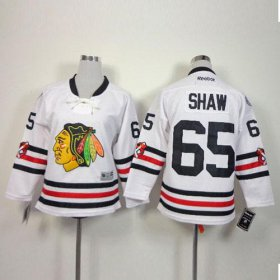 Wholesale Cheap Blackhawks #65 Andrew Shaw White 2015 Winter Classic Stitched Youth NHL Jersey