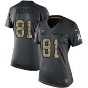 Wholesale Cheap Nike Browns #81 Austin Hooper Black Women's Stitched NFL Limited 2016 Salute to Service Jersey