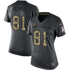 Wholesale Cheap Nike Browns #81 Austin Hooper Black Women\'s Stitched NFL Limited 2016 Salute to Service Jersey