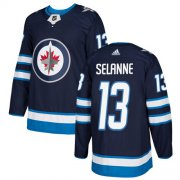 Wholesale Cheap Adidas Jets #13 Teemu Selanne Navy Blue Home Authentic Stitched Youth NHL Jersey