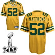 Wholesale Cheap Packers #52 Clay Matthews Yellow Super Bowl XLV Stitched NFL Jersey