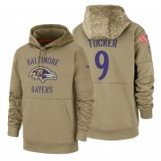 Wholesale Cheap Baltimore Ravens #9 Justin Tucker Nike Tan 2019 Salute To Service Name & Number Sideline Therma Pullover Hoodie