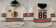 Wholesale Blackhawks #86 Teuvo Teravainen Cream Heavyweight Pullover Hoodie Stitched NHL Jersey