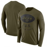 Wholesale Cheap Men's New York Jets Nike Olive Salute to Service Sideline Legend Performance Long Sleeve T-Shirt