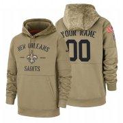 Wholesale Cheap New Orleans Saints Custom Nike Tan 2019 Salute To Service Name & Number Sideline Therma Pullover Hoodie