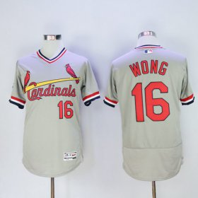 Wholesale Cheap Cardinals #16 Kolten Wong Grey Flexbase Authentic Collection Cooperstown Stitched MLB Jersey