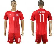 Wholesale Cheap Danmark #11 Bendtner Red Home Soccer Country Jersey