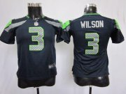 Wholesale Cheap Nike Seahawks #3 Russell Wilson Steel Blue Team Color Youth Stitched NFL Elite Jersey