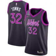 Wholesale Cheap Men's Minnesota Timberwolves #32 Karl-Anthony Towns Nike Purple 2019 Swingman Jersey City Edition