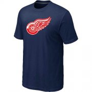 Wholesale Cheap Detroit Red Wings Big & Tall Logo Midnight Blue NHL T-Shirt