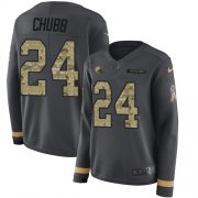 Wholesale Cheap Nike Browns #24 Nick Chubb Anthracite Salute to Service Women's Stitched NFL Limited Therma Long Sleeve Jersey