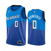 Wholesale Cheap Nike Bucks #0 Donte Divincenzo Blue NBA Swingman 2020-21 City Edition Jersey