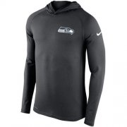 Wholesale Cheap Men's Seattle Seahawks Nike Charcoal Stadium Touch Hooded Performance Long Sleeve T-Shirt