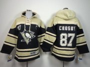 Wholesale Cheap Penguins #87 Sidney Crosby Black Sawyer Hooded Sweatshirt Stitched Youth NHL Jersey