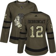 Wholesale Cheap Adidas Blackhawks #12 Alex DeBrincat Green Salute to Service Women's Stitched NHL Jersey