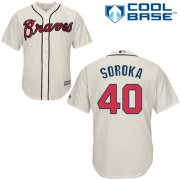 Wholesale Cheap Braves #40 Mike Soroka Cream New Cool Base Stitched Youth MLB Jersey