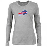 Wholesale Cheap Women's Nike Buffalo Bills Of The City Long Sleeve Tri-Blend NFL T-Shirt Light Grey
