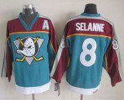Wholesale Cheap Ducks #8 Teemu Selanne Red/Turquoise CCM Throwback Stitched NHL Jersey