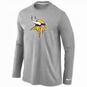 Wholesale Cheap Nike Minnesota Vikings Logo Long Sleeve T-Shirt Grey