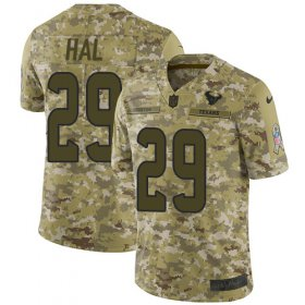 Wholesale Cheap Nike Texans #29 Andre Hal Camo Youth Stitched NFL Limited 2018 Salute to Service Jersey