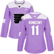 Wholesale Cheap Adidas Flyers #11 Travis Konecny Purple Authentic Fights Cancer Women's Stitched NHL Jersey