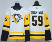 Wholesale Cheap Adidas Penguins #59 Jake Guentzel White Road Authentic Women's Stitched NHL Jersey