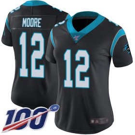 Wholesale Cheap Nike Panthers #12 DJ Moore Black Team Color Women\'s Stitched NFL 100th Season Vapor Limited Jersey
