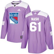 Wholesale Cheap Adidas Rangers #61 Rick Nash Purple Authentic Fights Cancer Stitched Youth NHL Jersey