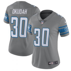 Wholesale Cheap Nike Lions #30 Jeff Okudah Gray Women\'s Stitched NFL Limited Rush Jersey