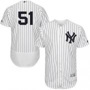Wholesale Cheap Yankees #51 Bernie Williams White Strip Flexbase Authentic Collection Stitched MLB Jersey