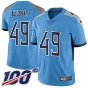Wholesale Cheap Nike Titans #49 Nick Dzubnar Light Blue Alternate Youth Stitched NFL 100th Season Vapor Untouchable Limited Jersey