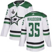 Cheap Adidas Stars #35 Anton Khudobin White Road Authentic Youth 2020 Stanley Cup Final Stitched NHL Jersey