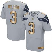 Wholesale Cheap Nike Seahawks #3 Russell Wilson Grey Alternate Men's Stitched NFL Elite Gold Jersey